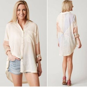 Free people rainbow rays button down blouse small
